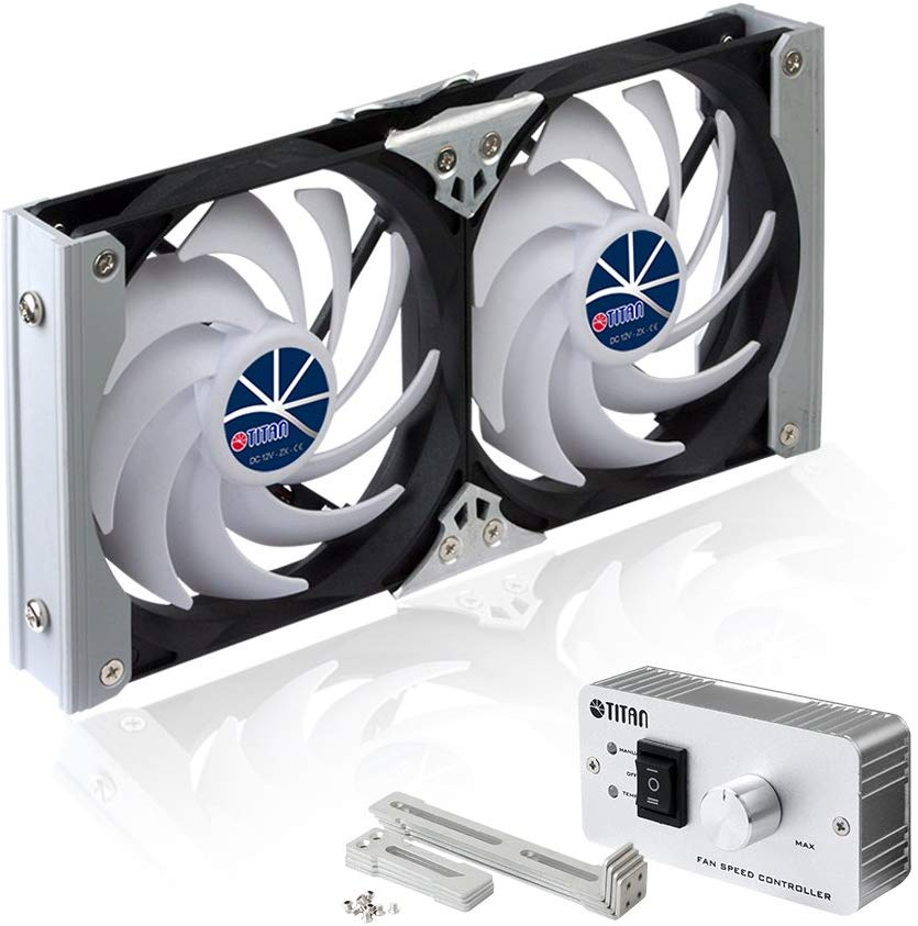 Titan TTC-SC09TZ(A) Multi-Function Rack-Mounted Double Refrigerator Side Vent Fan for RV