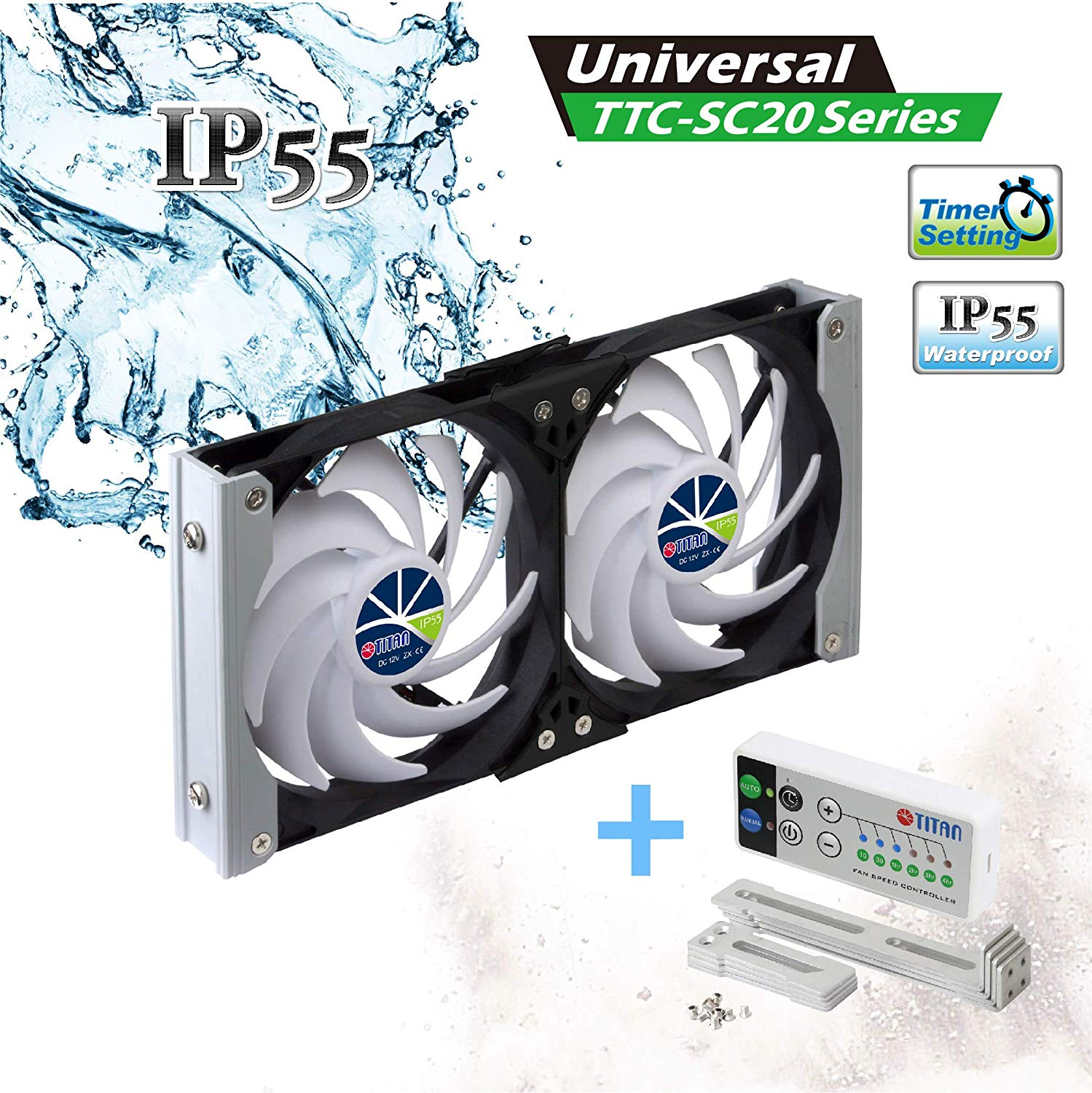 Titan TTC-SC20 Waterproof Double Rack Mount Ventilation Refrigerator Cooling Fan for RV